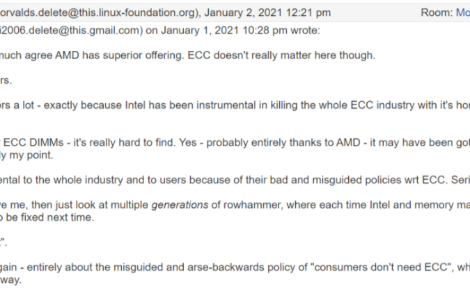Linus抨击英特尔:正在扼杀整个ECC产业