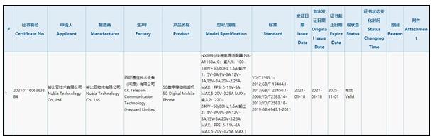 努比亚红魔6电竞手机已获得3C认证