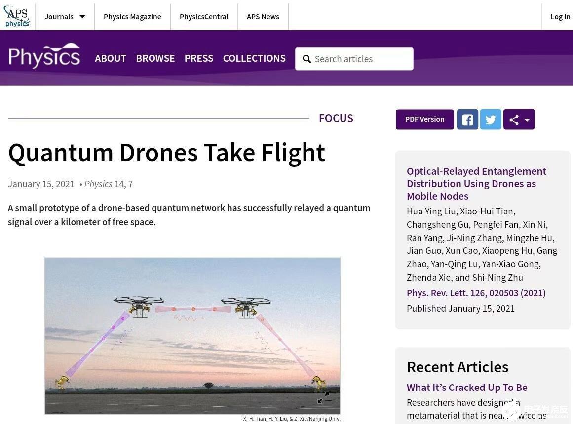 基于无人机的纠缠光子分发试验成功,实现信息传得更...
