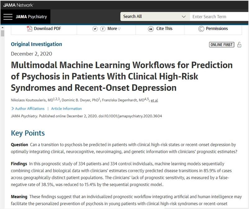 科学家开发可预测精神病的AI系统