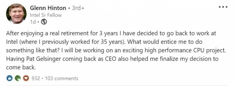 退休三年后,Nehalem的首席架构师Glenn Hinton将重返英特尔