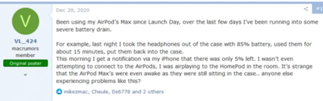 苹果AirPods Max电池续航翻车