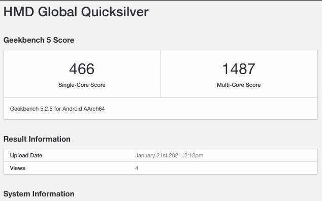 代号为Quicksilver的诺基亚神秘智能手机现身Geekbench
