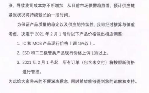 乐山无线电发布涨价函,涉及IC和MOS等产品
