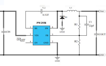 PW2558异步降压调节器的数据手册免费下载