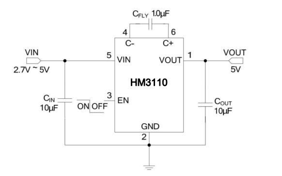HM3110低噪声电荷泵转换器的数据手册免费下载