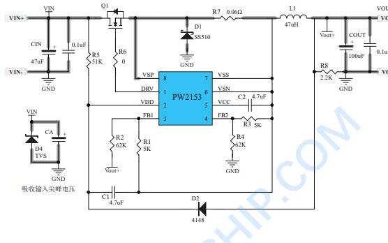PW2153开关降压型DCDC控制器的数据手册免费下载