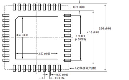 适用于DA4580蓝牙芯片的QFN40芯片尺寸及推荐PCB封装资料免费下载