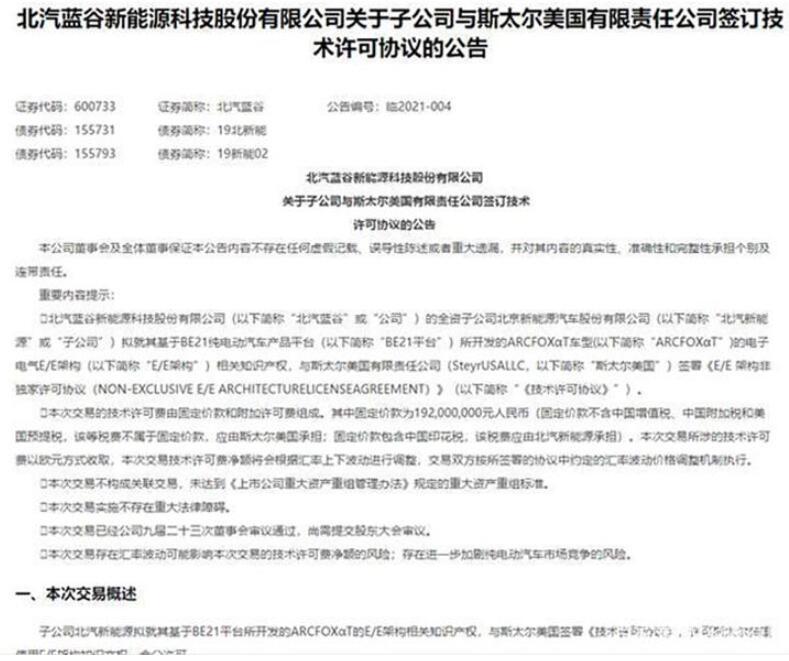 北汽蓝谷子公司拟签署电动车平台技术许可协议