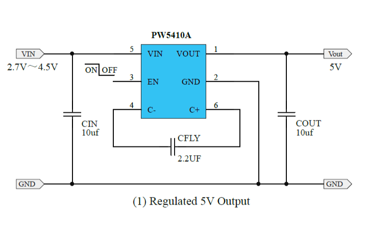 PW5410A稳压电荷泵DCDC转换器的数据手册免费下载