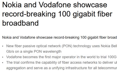 诺基亚与沃达丰正试验100Gbps速度的宽带技术