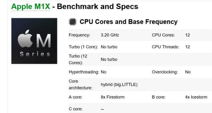 苹果M1X芯片规格出现在基准网站上