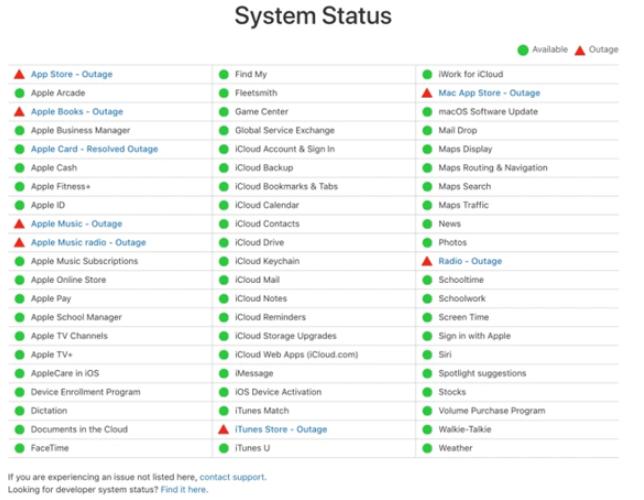 苹果多项高级服务崩溃出现中断问题