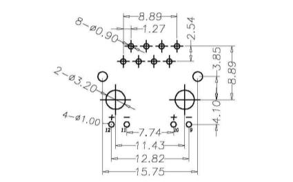 RJ45连接器直插180度插板式带LED灯16.6长后二脚的规格原理图免费下载