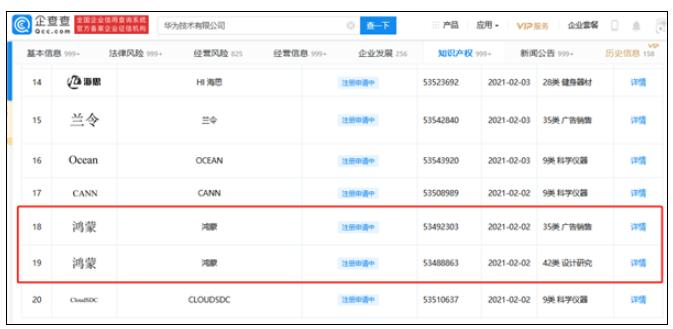 华为已申请注册鸿蒙系统商标