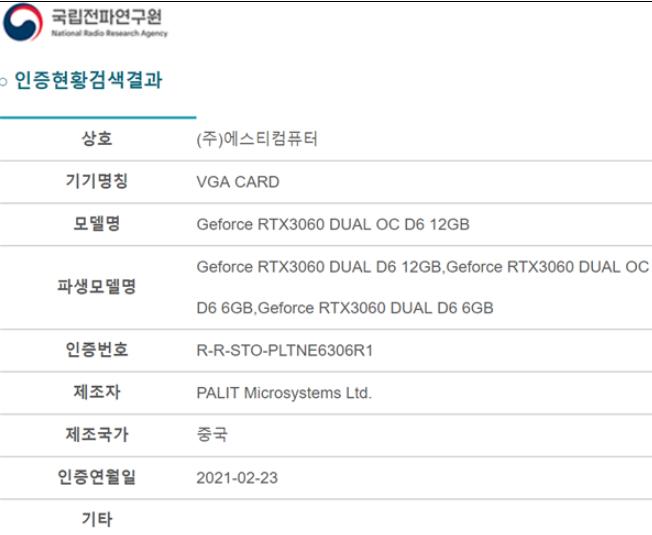 NVIDIA RTX 3060 6GB重出江湖
