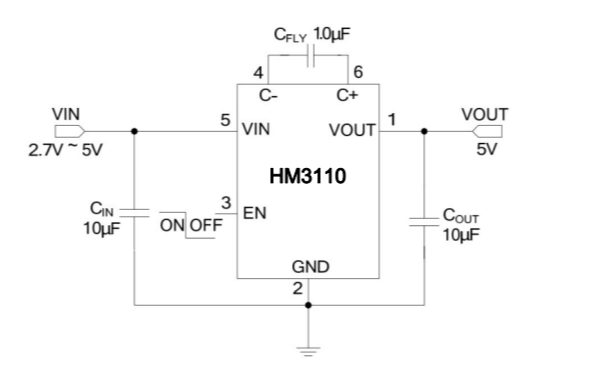 HM3110低噪声电荷泵DCDC转换器的数据手册