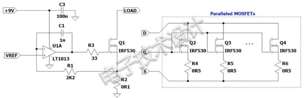 如何通过运算放大器和功率MOSFET构建电流负载且设置成恒定电阻
