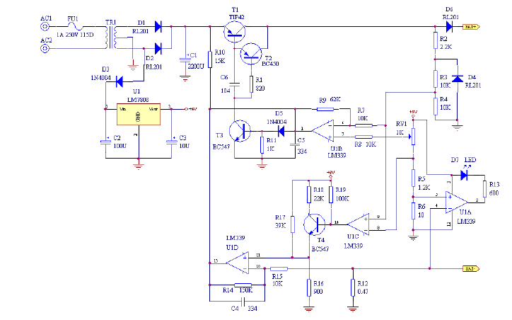 铅酸蓄电池充电器的电路原理图免费下载