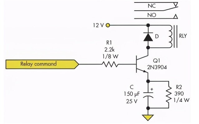 通过RC电路、串联线圈降低继电器电流和功耗