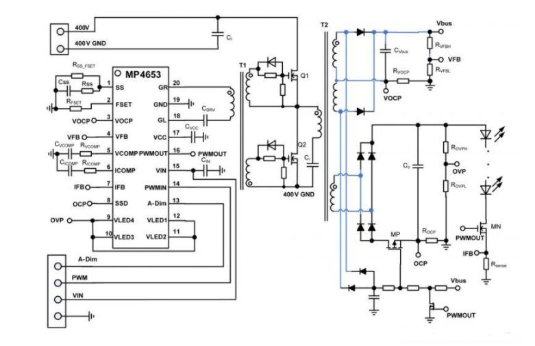 基于MP4653的CC/CV模式LLC 电视LED驱动器