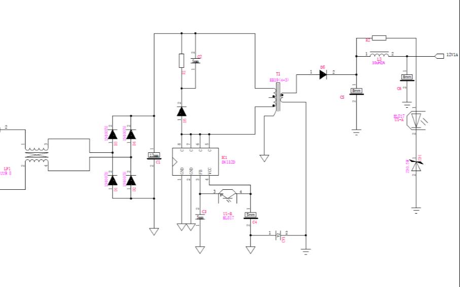 12V1A电源适配器的电路原理图免费下载