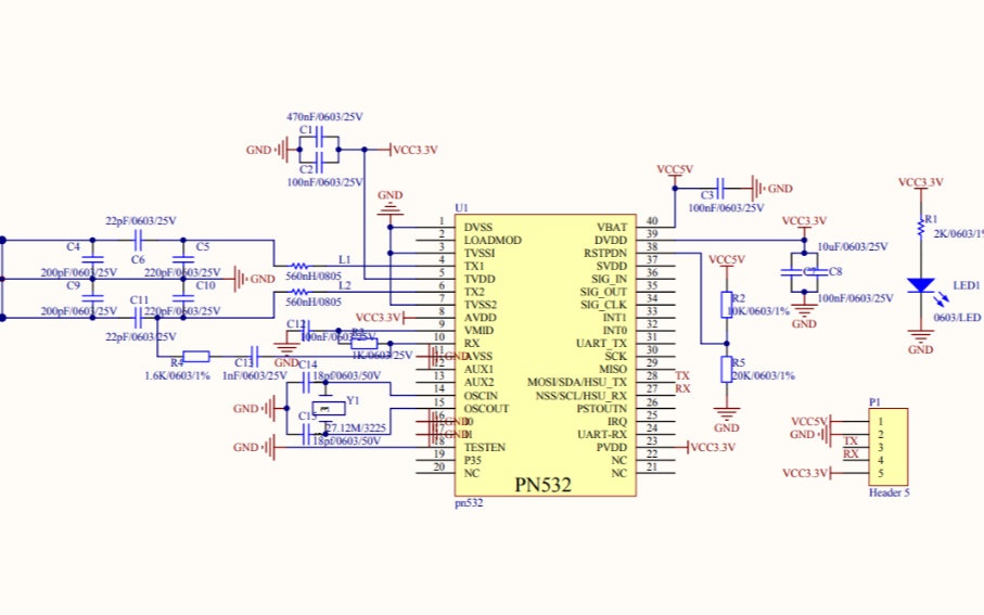 PN532读写器的电路原理图免费下载
