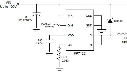 FP7122降压恒流LED驱动芯片的产品说明书免费下载