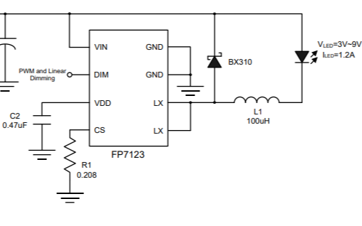 FP7123降压恒流LED驱动芯片的使用说明书免费下载