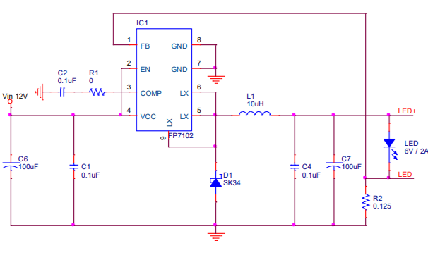 FP7102和FP7103同步降压LED驱动IC的数据手册免费下载