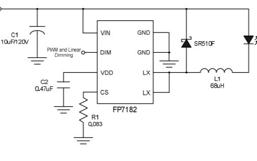 FP7182平均模式恒流控制的LED驱动器芯片的数据手册
