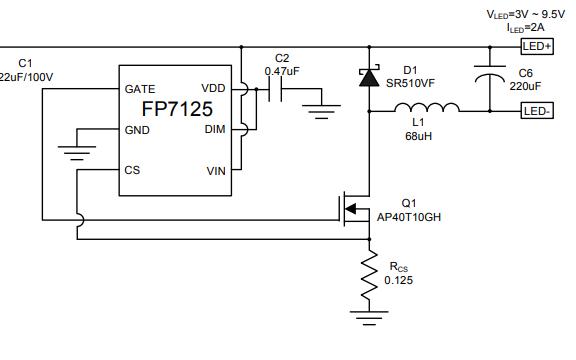 FP7125 LED驱动器IC的数据手册免费下载
