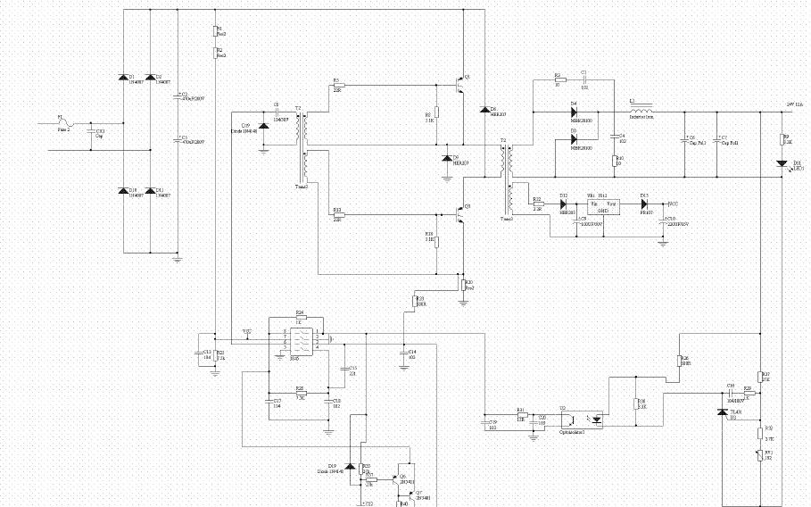 UC3844驱动的24V12A双管正激电源电路图免费下载