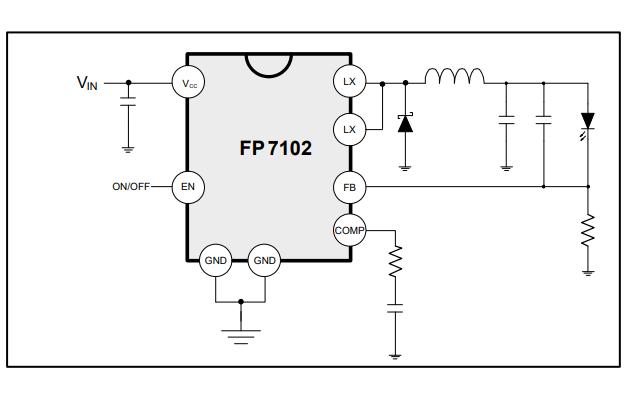 FP7102降压恒流开关稳压器的数据手册免费下载