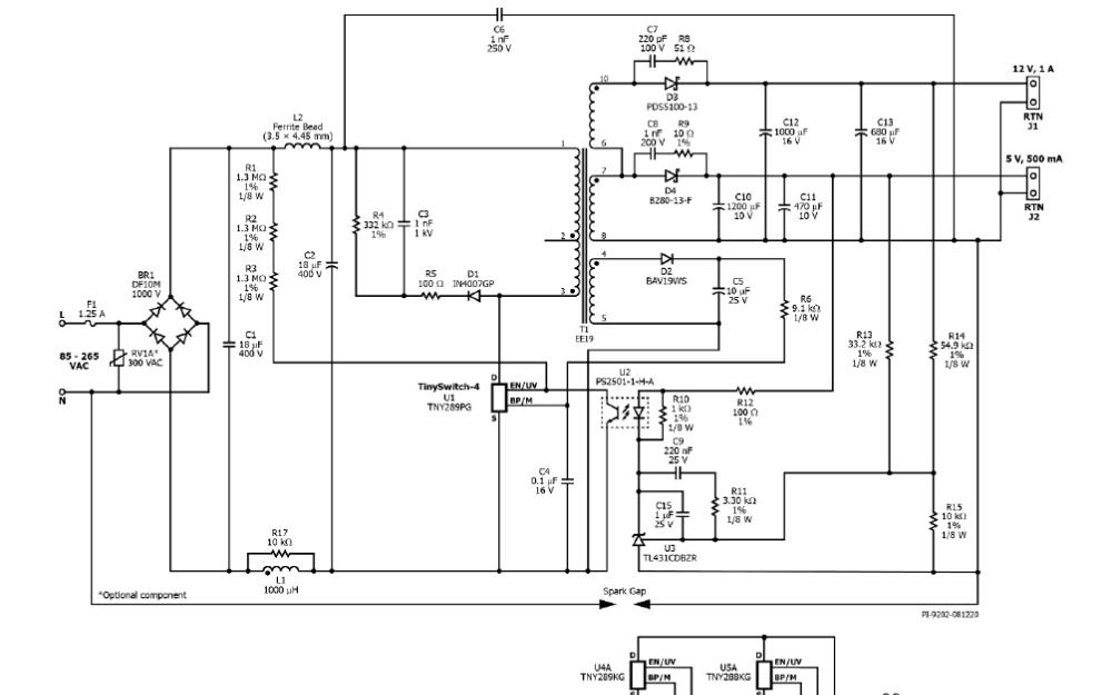 使用TinySwitchTM-4 TNY289PG的14.5 W双输出隔离反激式电源