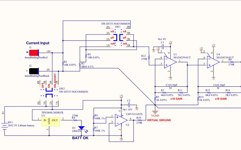 微电流检测设备的电路原理图与PCB资料