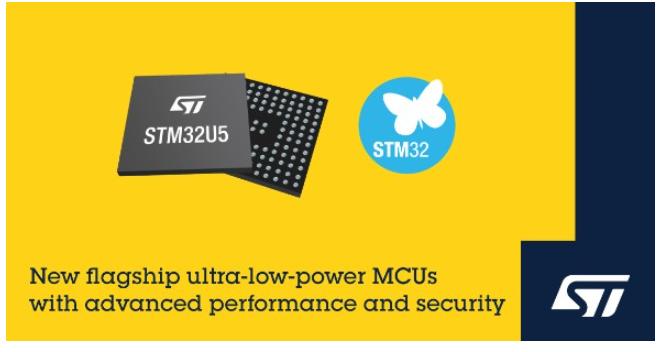 意法半導體推出新一代超低功耗微控制器STM32U5*系列