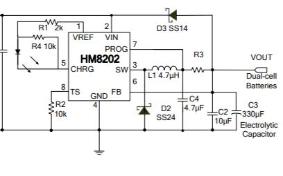 HM8202独立锂离子开关式电池充电器芯片的数据手册