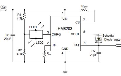 HM8203高級線性充電管理控制芯片的數據手冊免費下載