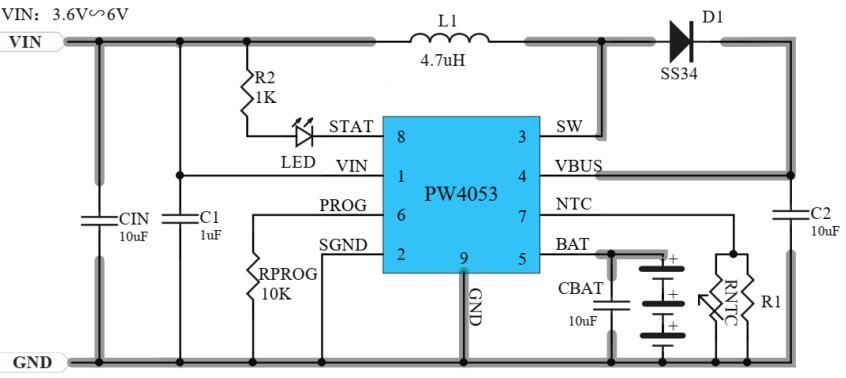 PW4053:支持三节电池的升压充电管理IC
