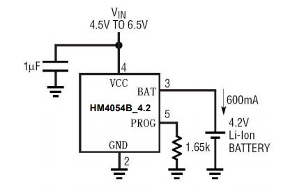 HM4054B單電池鋰離子電池恒流和恒電壓線性充電器的規格手冊