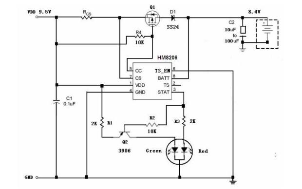 HM8206锂电池充电器控制电路的数据手册免费下载