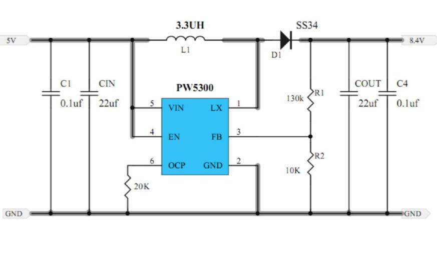 使用PW5300和PL7501C实现双节7.4V锂电池充电管理的方案