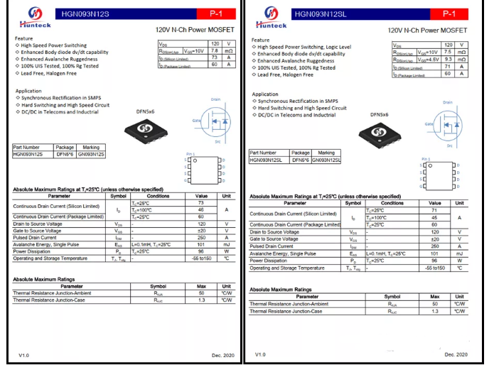 GaN Charger推荐方案- HGN093N12S/SL高频应用MOSFET