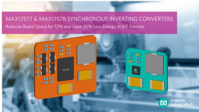 Maxim發布最新同步整流DC-DC反相轉換器,將工業自動化和信號調理方案的元件數量減半