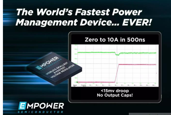 Empower IVR EP701穩壓器實現全球最快的瞬態響應時間