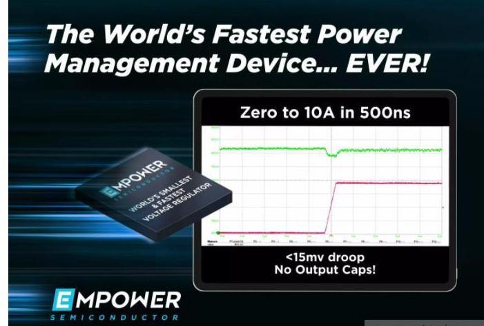 Empower IVR EP701稳压器实现全球最快的瞬态响应时间