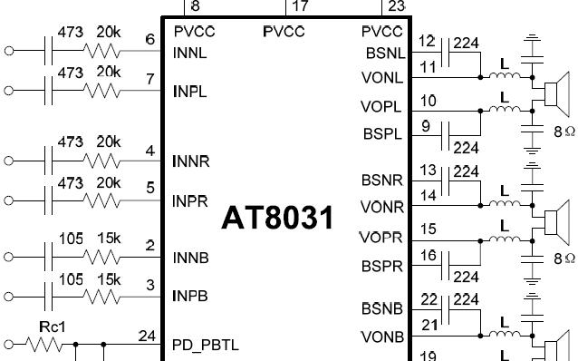 2.1声道Class D功放芯片AT8031规格说明书