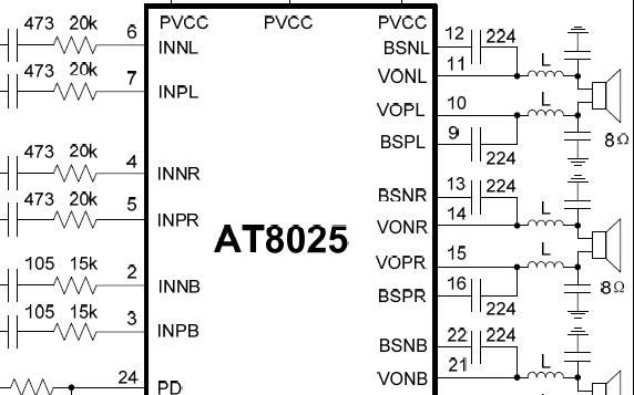 2.1声道Class D功放芯片AT8025规格说明书