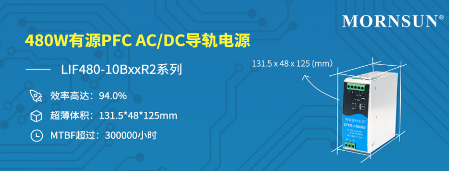 480W有源PFC AC/DC導軌電源 ——LIFxx-10BxxR2系列